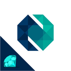 Icon logo with a diamond / polygonal concept with combination of initials letter N