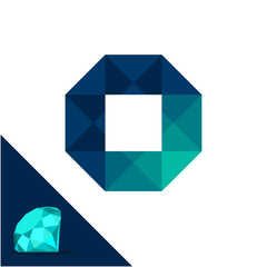 Icon logo with a diamond / polygonal concept with combination of initials letter O