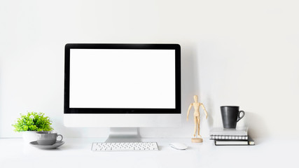Modern clean workspace mockup with blank screen desktop computer.