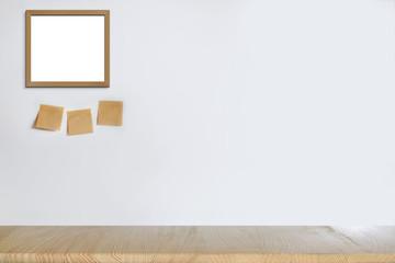 Mock up office desk and frame poster. Minimalist