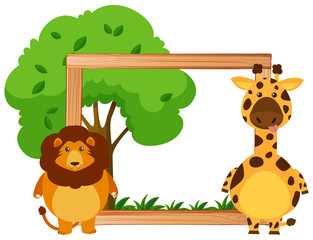 Border template with lion and giraffe