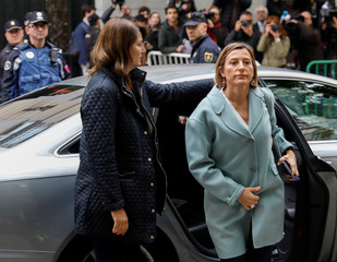 Speaker of Catalan parliament Carme Forcadell arrives to Spain's Supreme Court after being summoned to testify on charges of rebellion, sedition and misuse of public funds in Madrid
