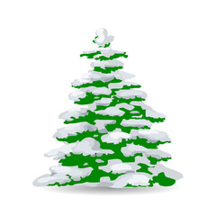 Green Christmas tree covered with snow, cartoon on white background,