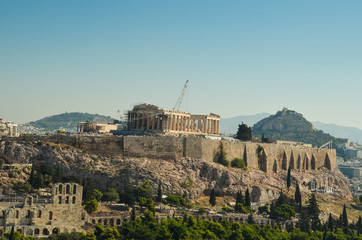 Wall Mural - acropolis parthenon caryatids landscape athesn greece morning