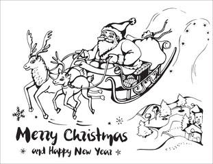Vector image of Santa Claus in a sleigh pulled by large and small reindeer in landscape with houses and trees. Merry Christmas and Happy New Year.
