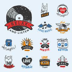 Set of vintage musical labels hand drawn templates love musical elements for design vector illustration.
