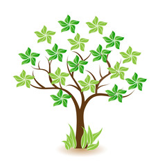 Tree with green stars icon