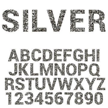 Vector silver alphabet. font with  glitter.