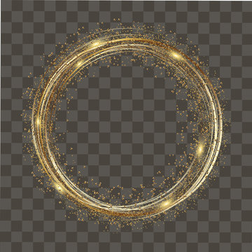 Abstract round glowing lights and gold sparkles on transparent background. Vector