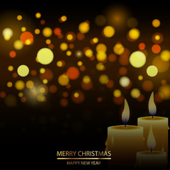 Christmas defocused background with snow and candle. Vector