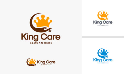 King Care logo template, Powerful Care logo designs vector