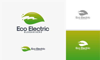 Eco Electricity logo template, Nature Electricity logo designs vector