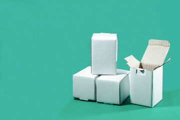 White box isolated on green background
