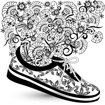 sneakers with a pattern and flowers