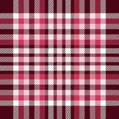 Plaid pattern. Checkered fabric texture in maroon, pink and white. Seamless print.