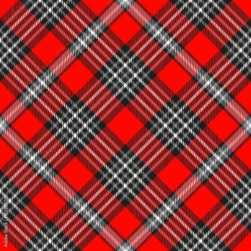 Plaid Pattern Checkered Fabric Texture In Red Gray Black And