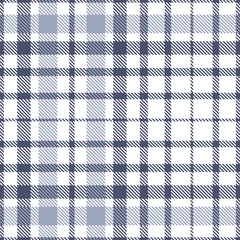 Plaid pattern. Checkered fabric texture in slate gray, dusty indigo blue and white. Seamless print.