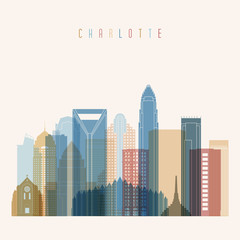 Charlotte state North Carolina, skyline detailed silhouette. Transparent style. Trendy vector illustration.