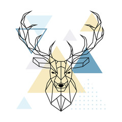Deer polygonal head. Scandinavian style. Vector illustration.