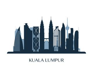 Kuala Lumpur skyline, monochrome silhouette. Vector illustration.