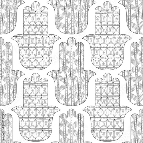 Hamsa Hand Black And White Seamless Pattern For Coloring Page Decorative Amulet Good