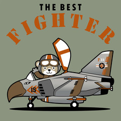 vector cartoon of fighter jet with cute pilot