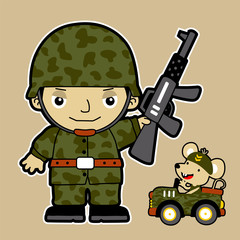 vector cartoon of gunman with his little friend