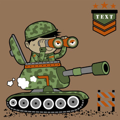 vector cartoon of a soldier on tank
