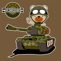 vector cartoon of cute soldier on armored vehicle