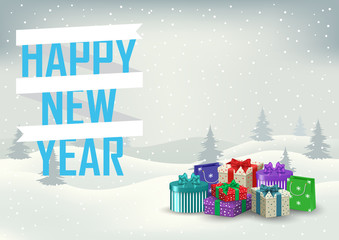 Decorative inscription of a happy new year with gifts on the bac