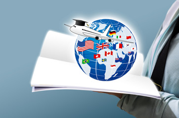 Study abroad concept design of Young woman open book and world education with national flag