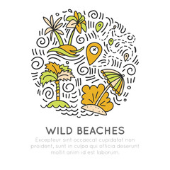 Tropical wild beach - icon hand draw concept in round forms. Unplugged vacation icons, far from civilization tropical vacation. Palms, sea waves, gps tracker with circle decoration