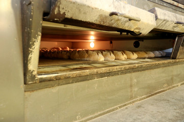 Loaves of bread are seen inside the wood-fired oven at the deHolzofeBeck bakery in Winterthur