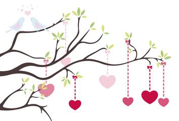 Liebesbaum mit Herzen und Vögel