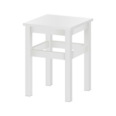 White stool mockup isolated - side view. Square wood tabouret on four legs. Vector illustration
