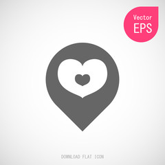 Map Heart Pointer Icon. Love Location Flat Document Vector Illustration