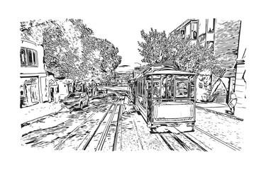 Sketch of San Fransisco city Road, California, USA in vector illustration.