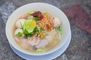 White noodle soup in bowl for healthy food as closeup object