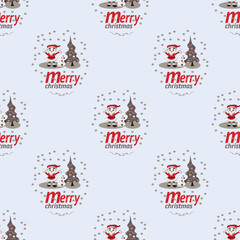 Cute Christmas Seamless Pattern Background - Vector Illustration, flat style. Endless texture. Use for wallpaper, textiles, pattern fills, web page background