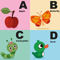 Vector illustration of alphabet kit which include a,b,c,d.
