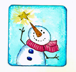 Watercolor showing a jolly snowman with star on a background of a blue sky