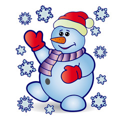 Christmas cheerful snowman and around fly snowflakes, cartoon on white background,