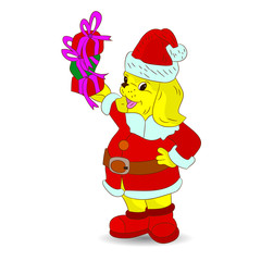 Happy yellow dog in Santa Claus costume, and in paws gifts, cartoon on white background,