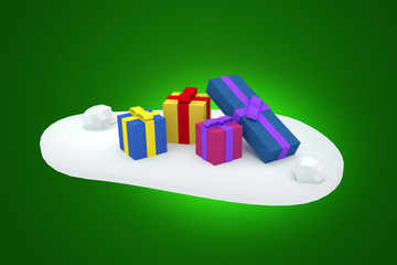 Presents for Christmas on snow - 3D render