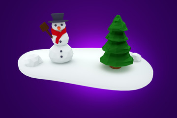 Christmas tree and snowman digital illustration