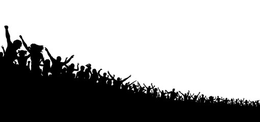 Crowd of people silhouette on white background