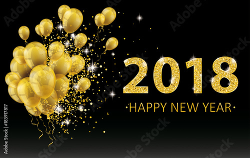 golden happy new year balloons 2018 particles confetti black background
