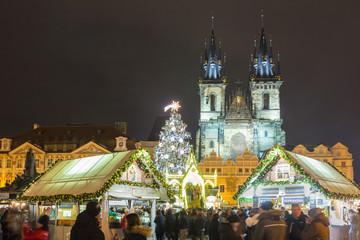 Christmas Markets in Prague on the Old Town Square.