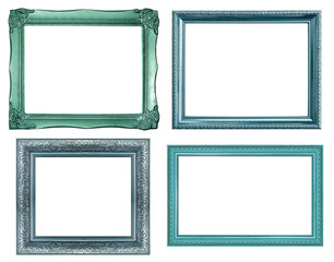 collection of vintage blue picture frame, isolated on white