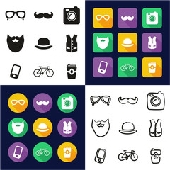Hipster All in One Icons Black & White Color Flat Design Freehand Set